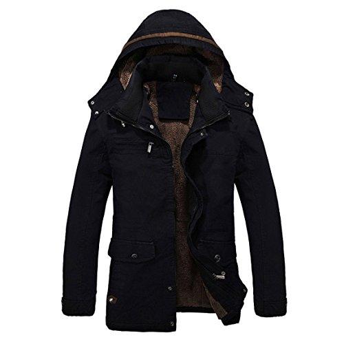 SODIAL (R) Uomo Caldo Giacche Piumino Capispalla pelliccia allineato inverno spesso cappotto lungo con cappuccio nero L