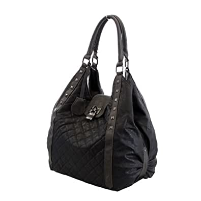 More4bagz Ladies Womens Large Faux Leather Quilted Shoulder Hobo Studs School Handbag Bag (BLACK)
