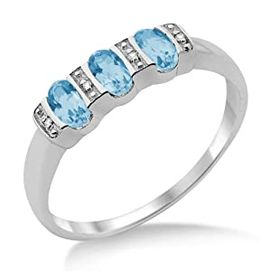 Miore Eternity Ring, 9ct White Gold, Diamond and Blue Topaz Eternity Ring, Size P, MT028BTRP