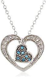 """Sterling Silver Blue and White Diamond Double Heart Pendant Necklace (0.07Cttw, G-H Color, I2-I3 Clarity), 18"""""""