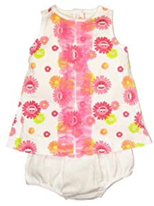 Baby / Infant Girls 2 Piece Sock Monkey Diaper Cover Dress Outfit by Baby Starters