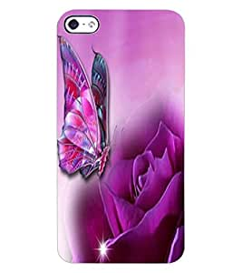 ColourCraft Rose and Butterfly Design Back Case Cover for APPLE IPHONE 4