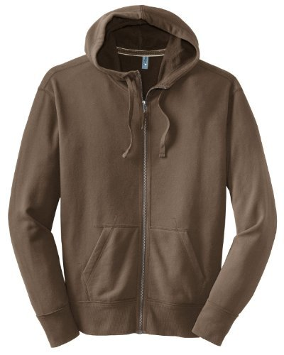 District Threads Men'S Vintage French Terry Full-Zip Hoodie, Light Mocha Brown, Large