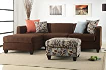 Big Sale Florence Sectional Sofa in Microfiber Finish with ottoman and free accent Pillows (Chocolate)