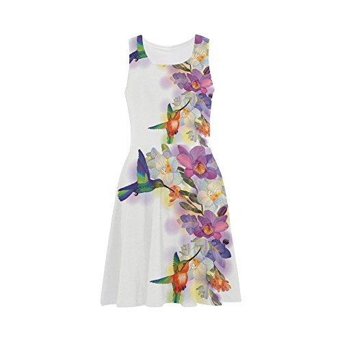 D-Story Custom Beautiful Flowers And Colorful Hummingbirds Women Sexy Sundress
