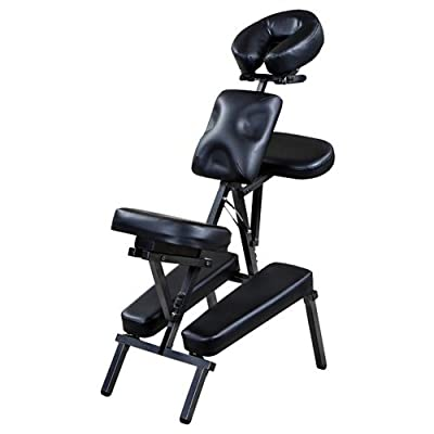 """Rhea"" Black Portable Massage Chair with Carrying Bag"