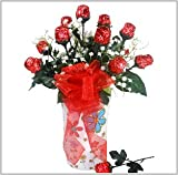 1 Dozen Chocolate Roses in a Vase - A Mother's Day or Birthday Gift Basket Idea!