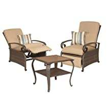 Hot Sale Lake Como Combo: Two Patio Recliners and Side Table by La-Z-Boy Outdoor