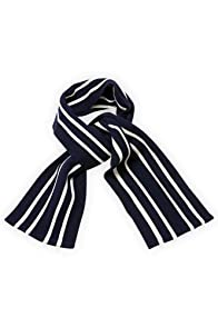 Etre Saxony Wool Stripe Scarf (Oxford Blue/Ecru Stripe)