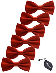 Udres 6 Pack Solid Bow Tie Satin Pre-tied Bowtie for Wedding Party (One Size, Red)