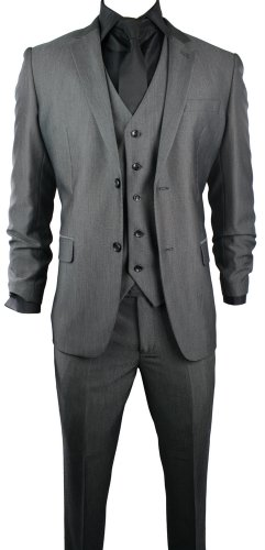 Mens Slim Fit Suit Grey Black Buttons 3 Piece Work Office or Wedding Party Suit UK