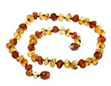 """Amberbeata Multi-color """"Raw Beauty"""" Certified *100% Genuine* Raw Baltic Amber Teething Necklace for Baby, Baby Gifts"""