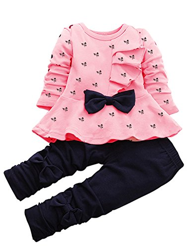 CM-Kid Cute Baby Girl Outfit 2pcs Heart Bowknot Long Sleeve Top and Legging Set (S, Pink 1)