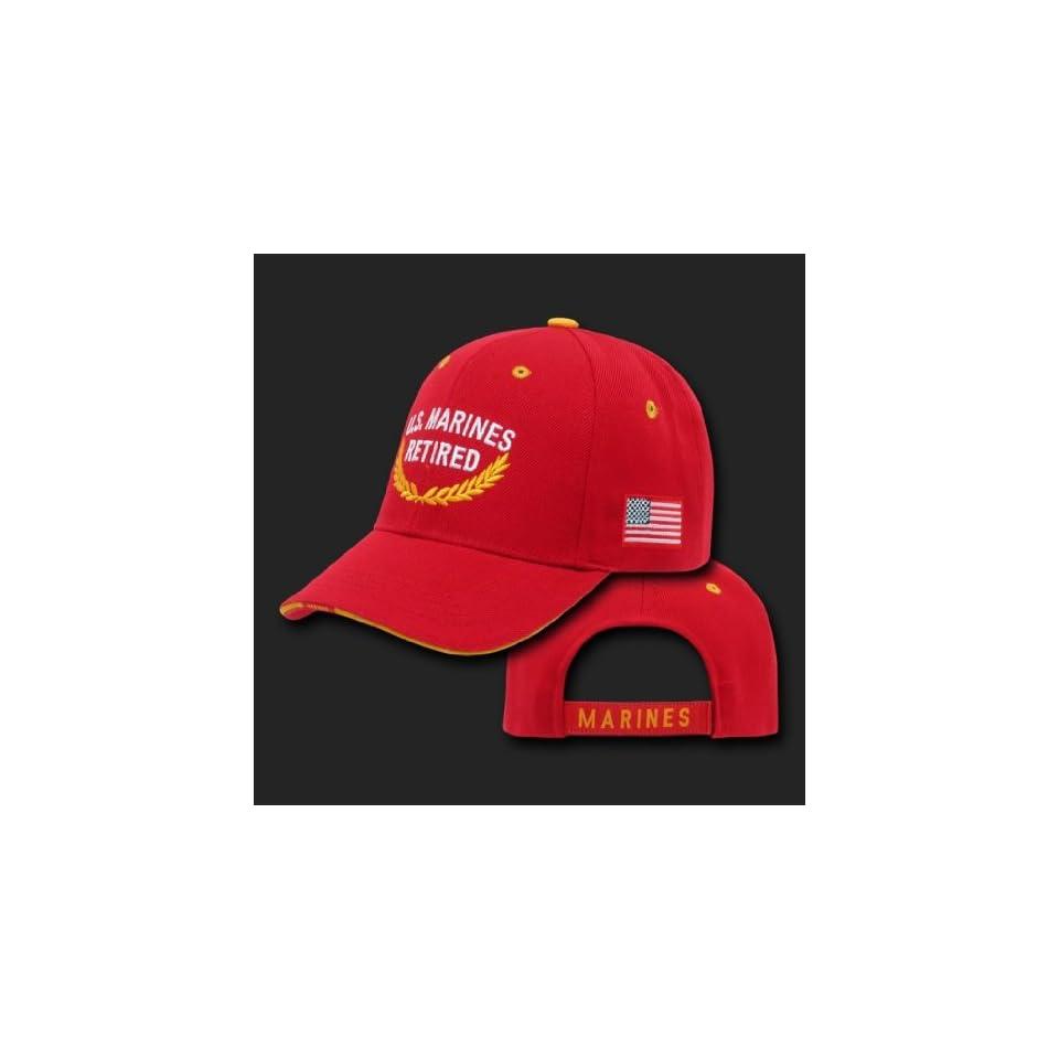 U.S. MARINES RED HAT CAP RETIRED U.S. MILITARY BASEBALL CAPS