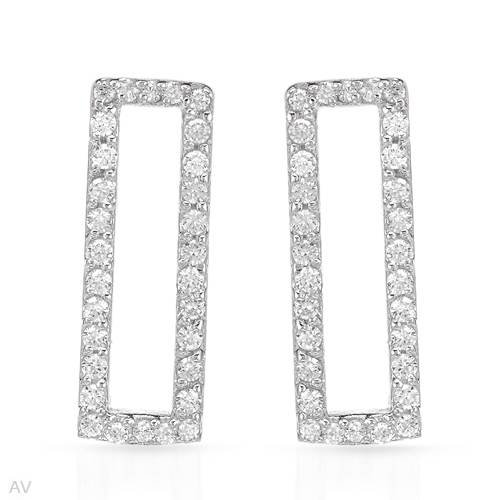 Earrings With 3.00ctw Cubic zirconia Well Made in 925 Sterling silver Length 22mm