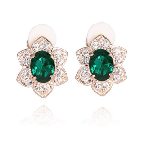 FASHION PLAZA Rose Gold Finish Flower Clip On Earrings with Emerald Green Crystals E334