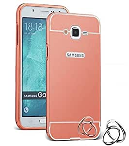 Aart Luxury Metal Bumper + Acrylic Mirror Back Cover Case For SamsungE5 RoseGold+ Flexible Portable Mount Cradle Thumb OK Designed Stand Holder