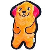 Outward Hound 32010 Invincibles Plush Dog Stuffingless Dog Toys Squeaker Toy 1 Squeaker, Small, Orange