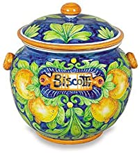 Handmade Toscana Biscotti Jar With Lemons From Italy