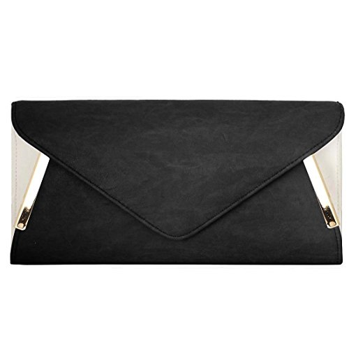 BMC-Womens-PU-Leather-Envelope-Flap-Metal-White-Accent-Fashion-Clutch-Handbag