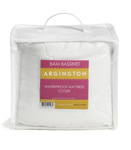 Argington Organic Bam Bassinet Waterproof Mattress Cover, White
