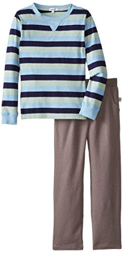 Splendid Little Boys' Wow Stripe Long Sleeve Crew Set, Light Blue, 7 front-653068