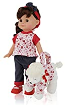 Super Cute 12 Inch Brown Hair Girl Play Doll, Comes Dressed with Clothing, Shoes and Matching Puppy Purse, Accessories included, Blinking Eyes and Cute Expressions, The Best Gift for your Children!!!