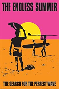 The Endless Summer Movie Holding Surfboard, Orange Poster Print