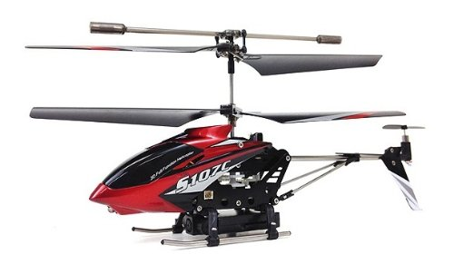 Syma 107C Electric Rc Helicopter Gyro 3.5Ch Spy Camera Ready To Fly (Red)