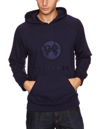 Soulland Ribbon Emblem Hooded Men's Sweatshirt Navy Small