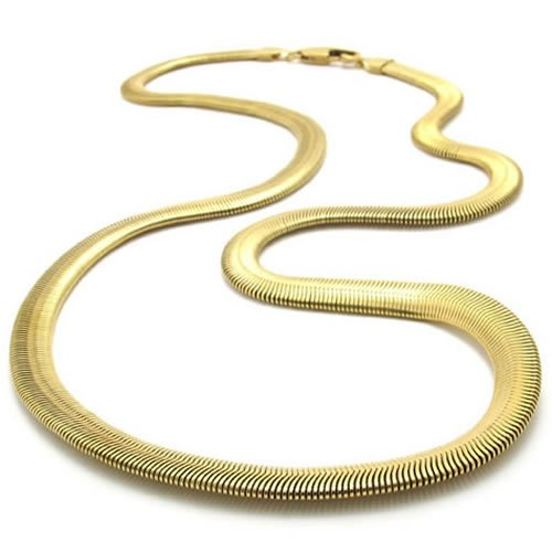 KONOV Jewelry Stainless Steel Mens Necklace Snake Chain - Gold 6mm 21.5&quot;