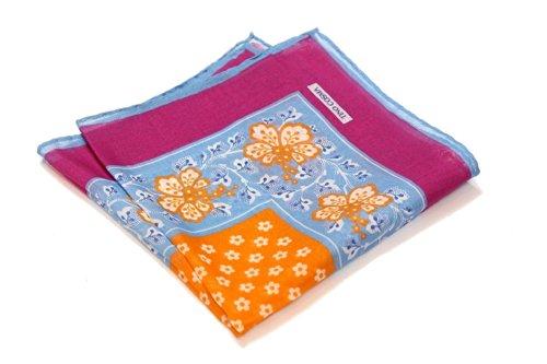 TINO COSMA(ティノコズマ) ポケットチーフ 花柄 No.04 (No.04004 ブルー×オレンジ)