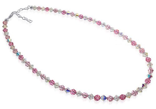 Sterling Silver Pink and Clear Crystal Necklace 14 inch Made with Swarovski Elements