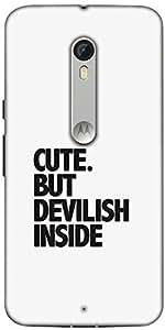 Snoogg Cute But Devilish Inside Designer Protective Back Case Cover For Motorola Moto X Style