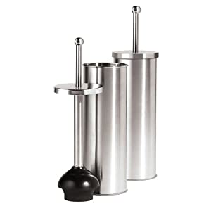oggi satin finish stainless steel 14 5 inch toilet plunger and holder chrome. Black Bedroom Furniture Sets. Home Design Ideas