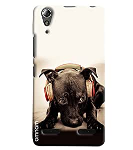 Omnam Black Dog Listening Music Printed Designer Back Cover Case For Lenovo A6000