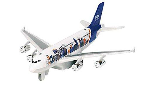Jouetprive-Avion avec son et lumières en métal blanc et bleu