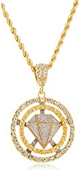 Goldtone or Silvertone - Round Sandblast Diamond Pendant with a 5mm 30 Inch Rope Chain Necklace