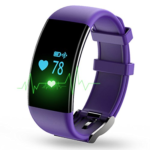 Longess Fitness Tracker, App-Enabled Bluetooth 4.0 Water Resistance Smart Watch, Sleep and Heart Rate Monitor Compatible with Android and IOS Smartphones (Purple)