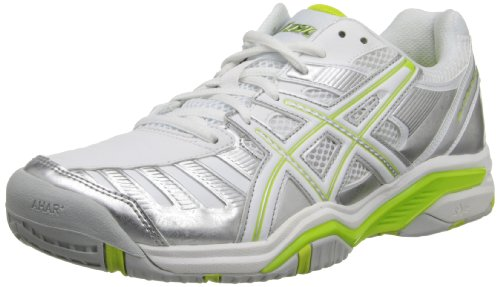 ASICS Women's Gel-Challenger 9 Tennis Shoe,Silver/Neon Lime/White,11 M US