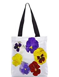 Snoogg A Circle Made Of Colorful Viola Tricolor Designer Poly Canvas Tote Bag