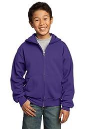 Port & Company Youth Full-Zip Hooded Sweatshirt, Small, Purple