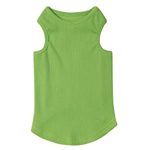 Casual Canine Cotton Basic Ribbed Dog Tank Top, Small/Medium, 14-Inch, Parrot Green