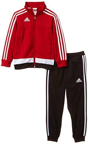 Adidas, Tuta Bambino Tiro 15, Rosso (Top: Power Red/white/black; Bas: Black/white), 10 anni