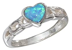 Sterling Silver Small Lab Blue Opal Heart Ring (size 04)