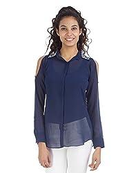 VeaKupia Women's Regular Fit Shirt (13439_L, Navy Blue, L)