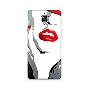 Motivatebox- Red Lips Premium Printed Case For OnePlus Three -Matte Polycarbonate 3D Hard case Mobile Cell Phone Protective BACK CASE COVER. Hard Shockproof Scratch-
