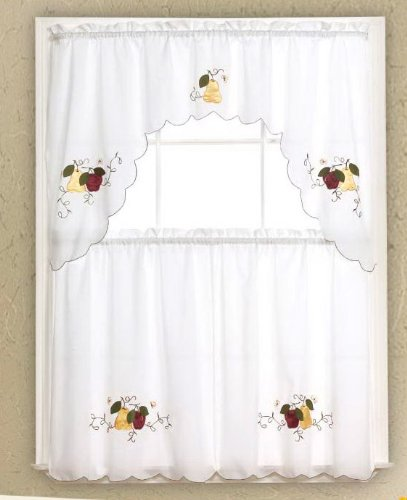 kitchen cafe curtain tier and swag set 3pc white with red apples and