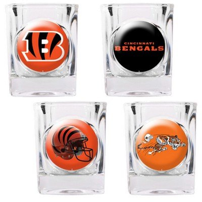 NFL Cincinnati Bengals Four Piece Square Shot Glass Set (Individual Logos)