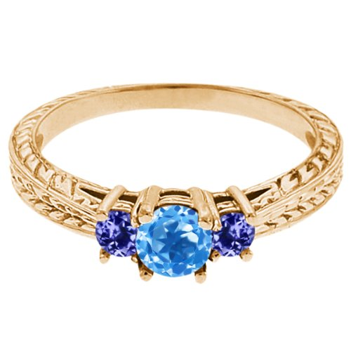 0.57 Ct Round Swiss Blue Topaz Blue Tanzanite 14K Yellow Gold 3-Stone Ring